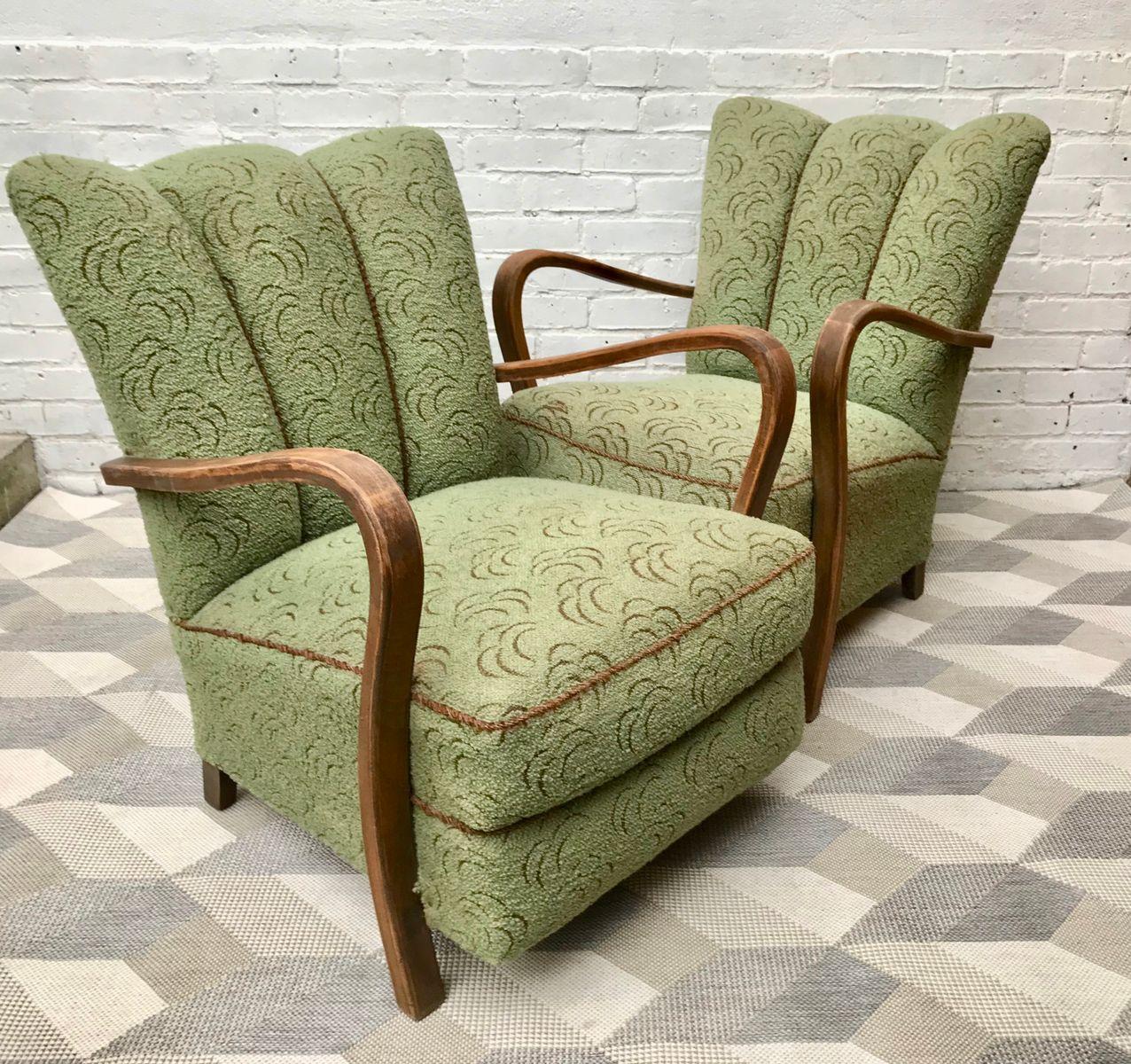 gr ne vintage art deco sessel 2er set bei pamono kaufen. Black Bedroom Furniture Sets. Home Design Ideas