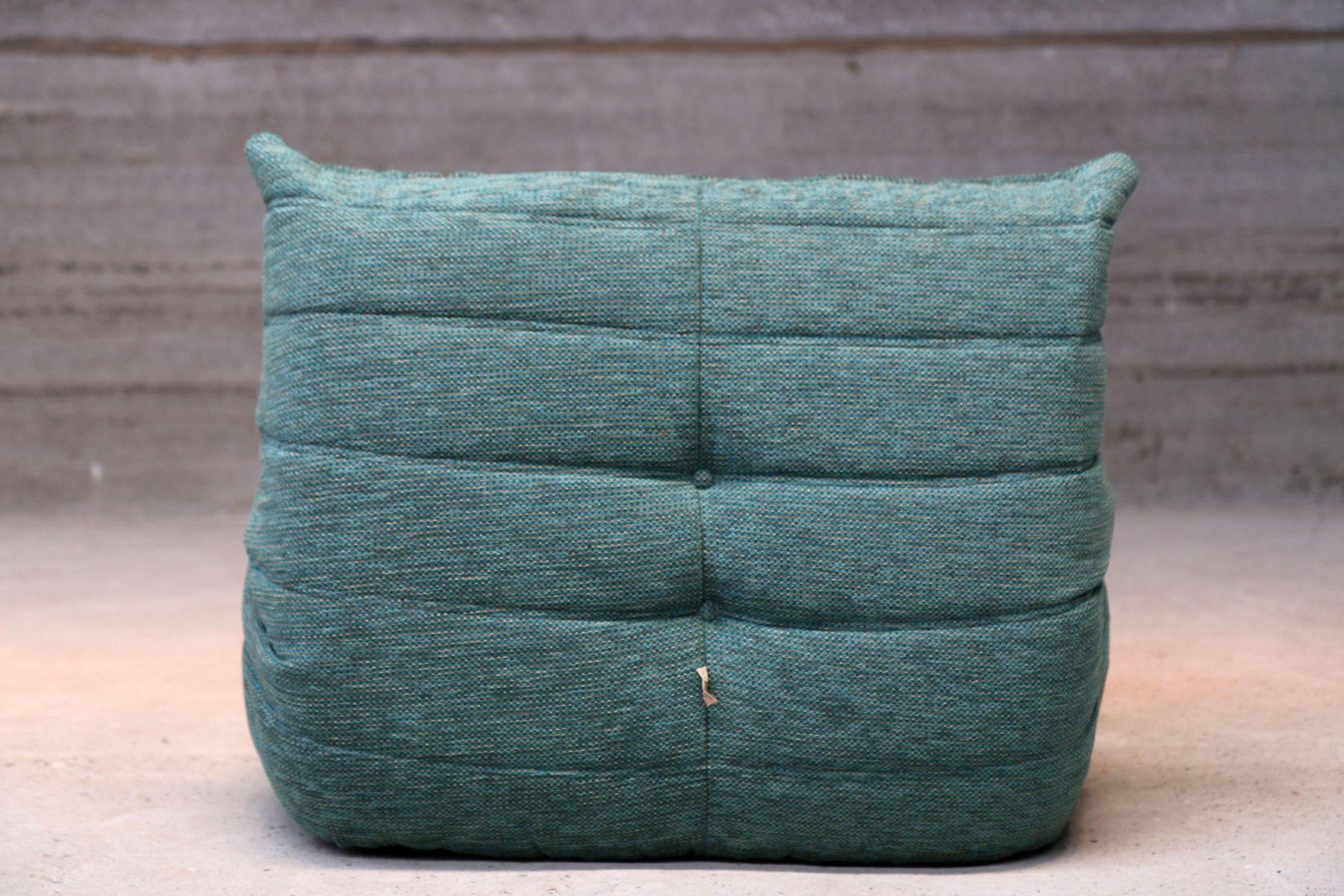 vintage blue togo pouf by michel ducaroy for ligne roset. Black Bedroom Furniture Sets. Home Design Ideas