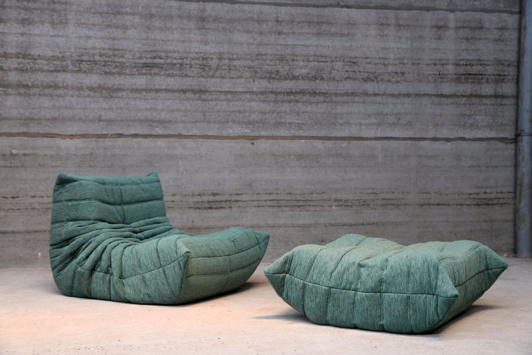 Vintage blue togo pouf by michel ducaroy for ligne roset set of 2 for sale at pamono - Togo ligne roset ...