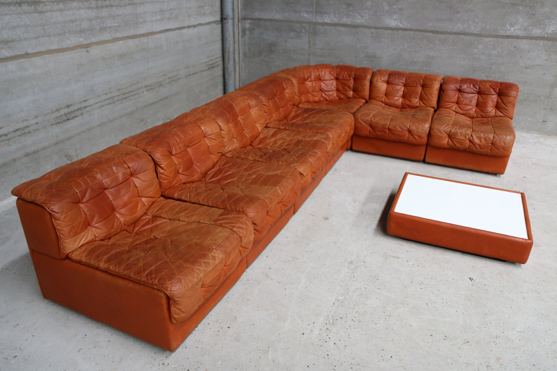 Vintage Ds 11 Leather Sofas Coffee Table From De Sede