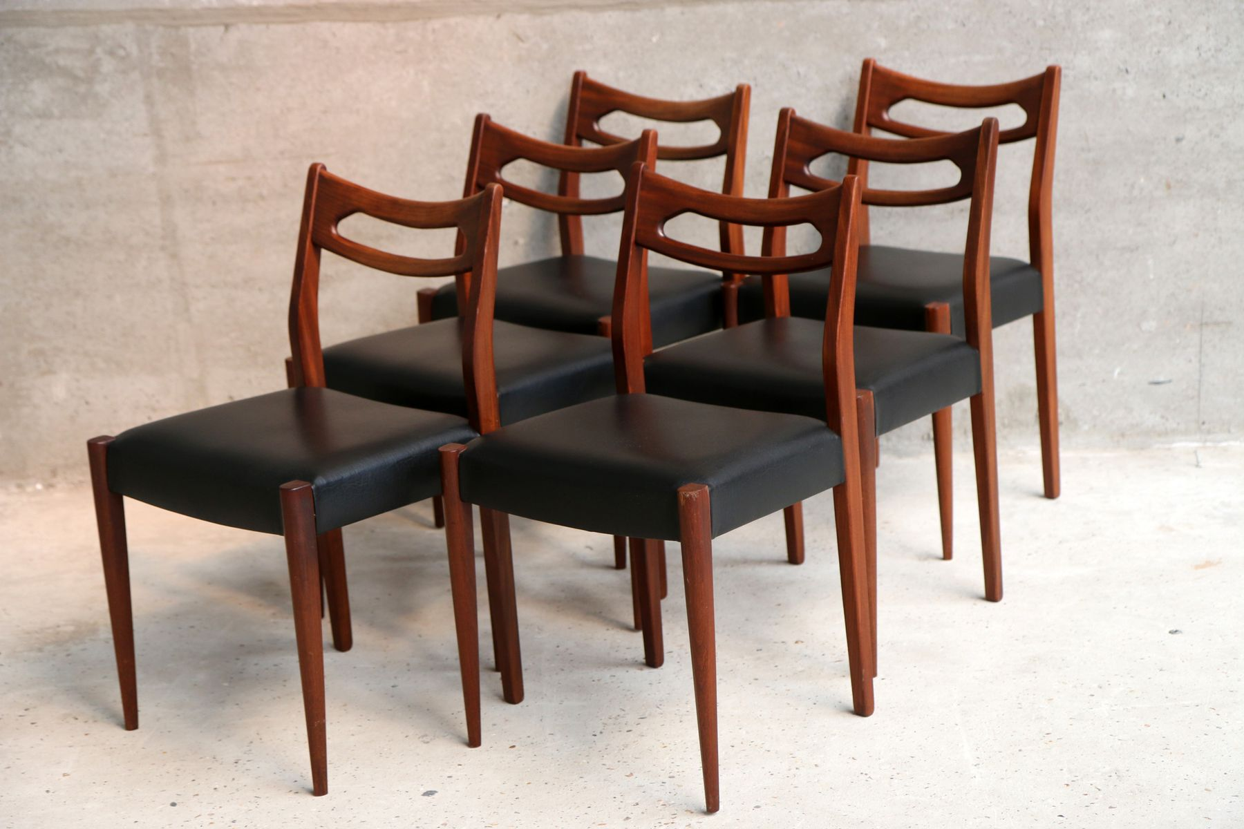 Vintage Black Vinyl Dining Chairs Set Of 6 For Sale At Pamono