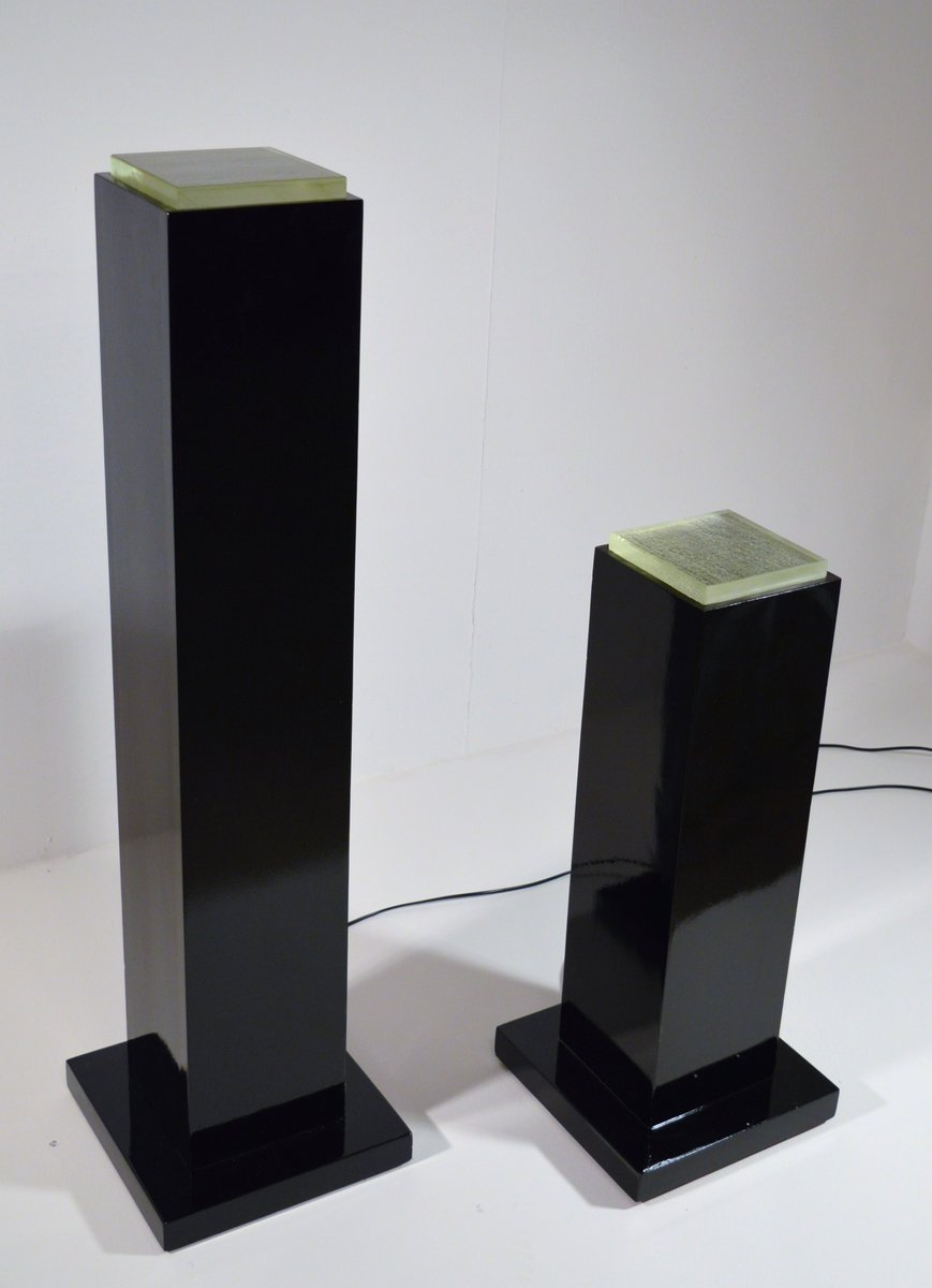 Black Lacquered Art Deco Era Pedestal Floor Lamps 1930s