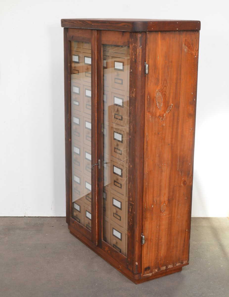 Vintage Wooden Filing Cards Cabinet for sale at Pamono
