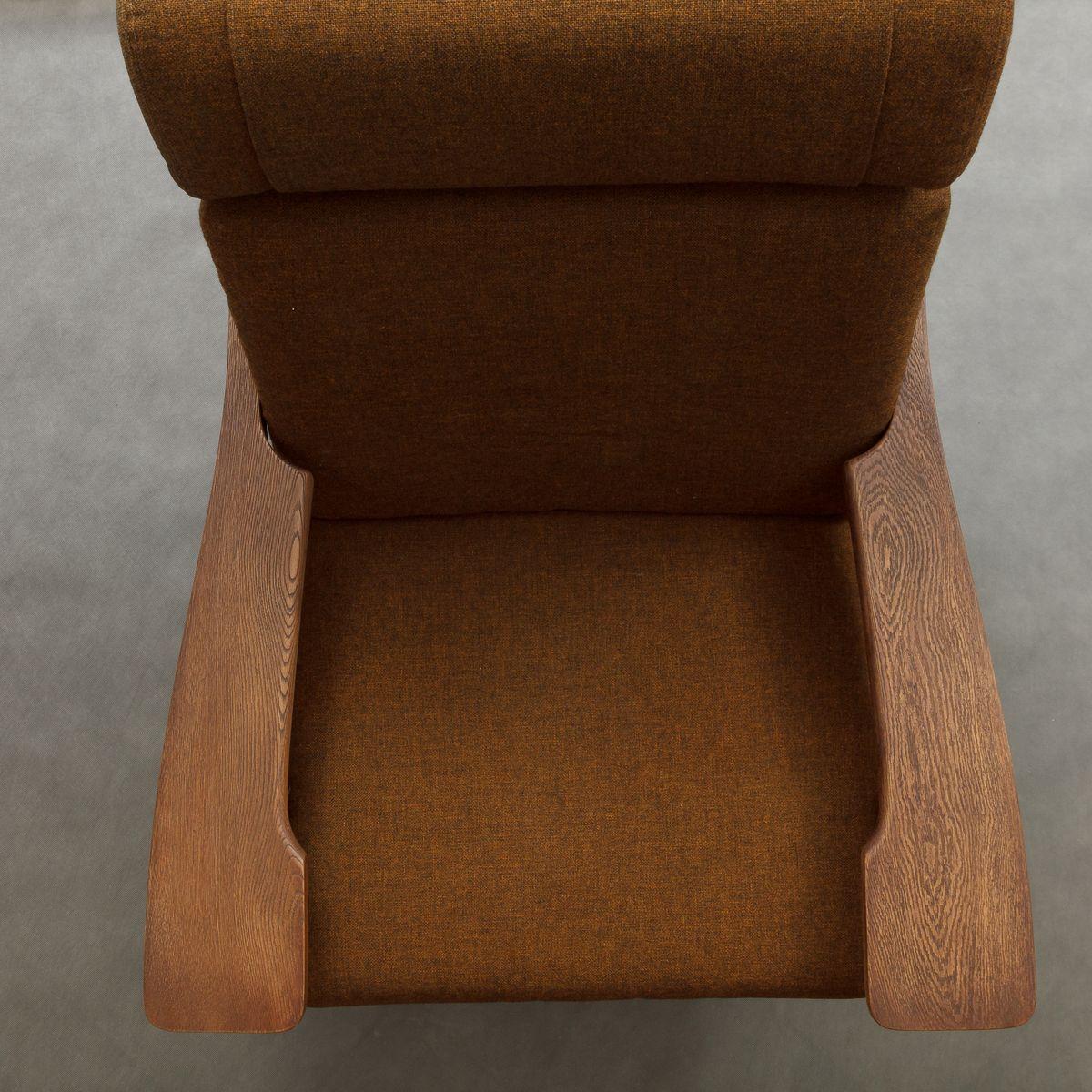 sandgestrahlter ge 375 sessel mit fu hocker von hans wegner f r getama 1970er bei pamono kaufen. Black Bedroom Furniture Sets. Home Design Ideas