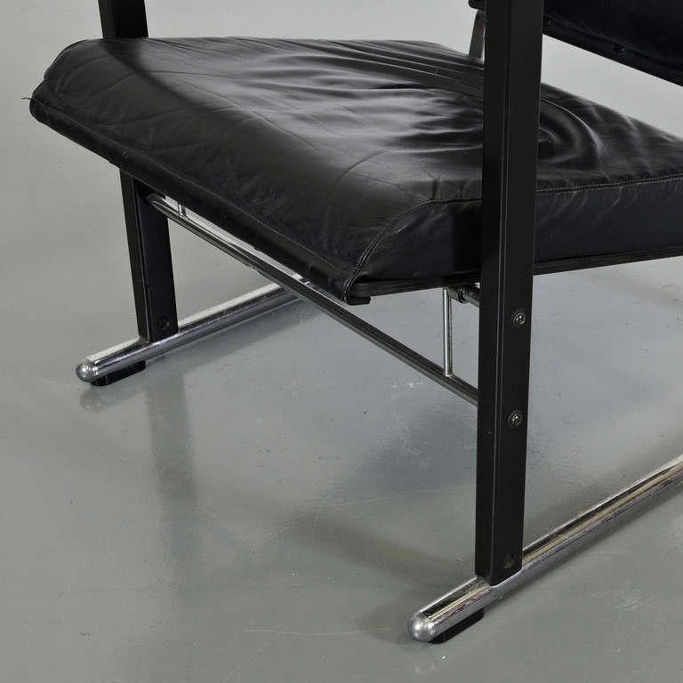 black leather easy chair by yrj kukkapuro for avarte for sale at