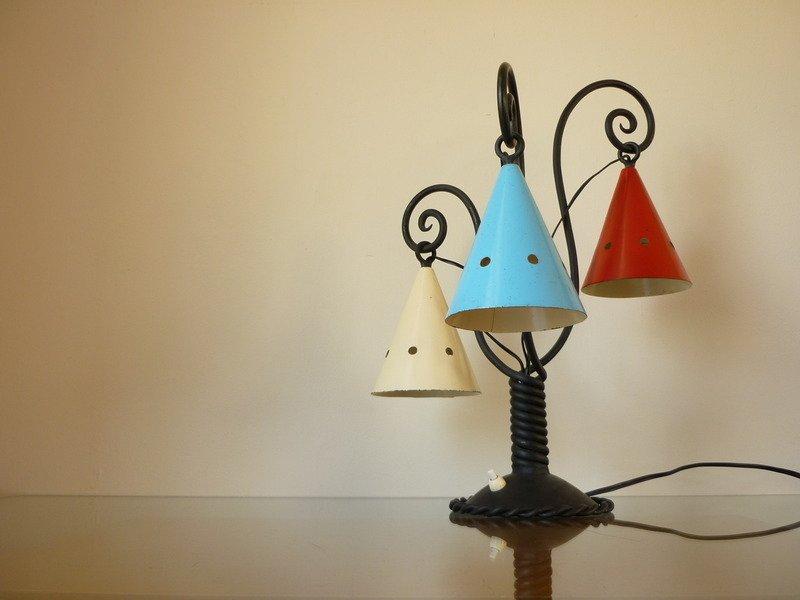 Mid Century Cast Iron Table Lamp, 1940s
