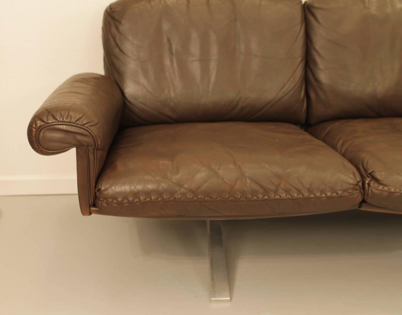 braunes leder sofa von de sede 1973 bei pamono kaufen. Black Bedroom Furniture Sets. Home Design Ideas