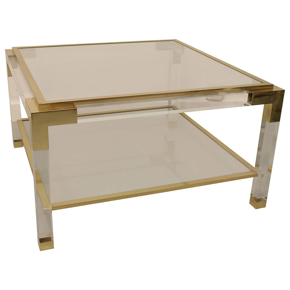 Square brass lucite coffee table 1975 for sale at pamono for Lucite and brass coffee table