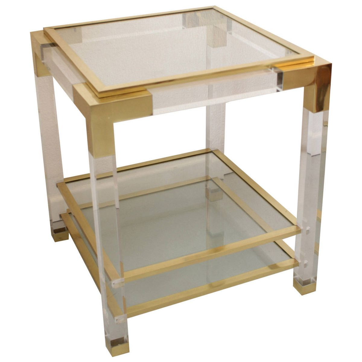 French Brass Lucite Side Table