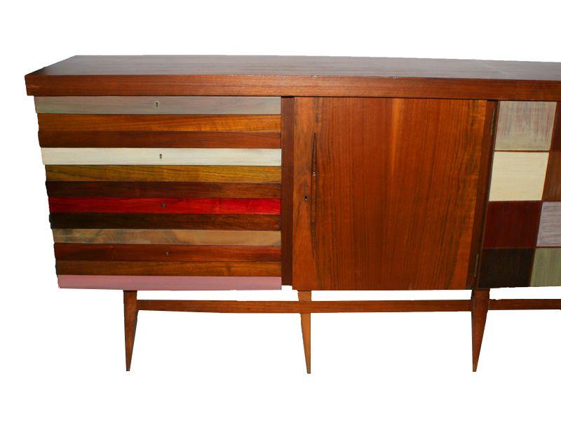langes lackiertes vintage sideboard aus holz bei pamono kaufen. Black Bedroom Furniture Sets. Home Design Ideas
