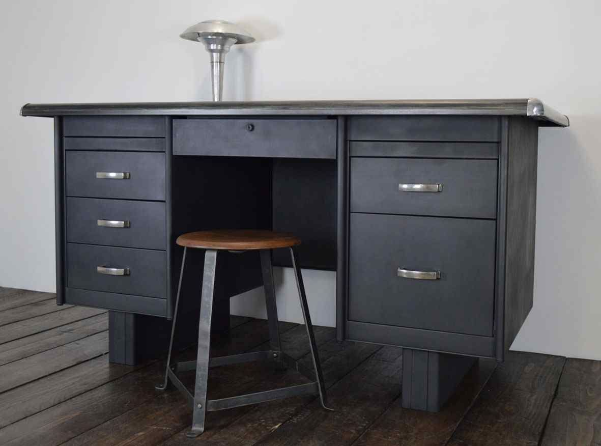 industrie stahl schreibtisch aus frankreich 1950er bei pamono kaufen. Black Bedroom Furniture Sets. Home Design Ideas