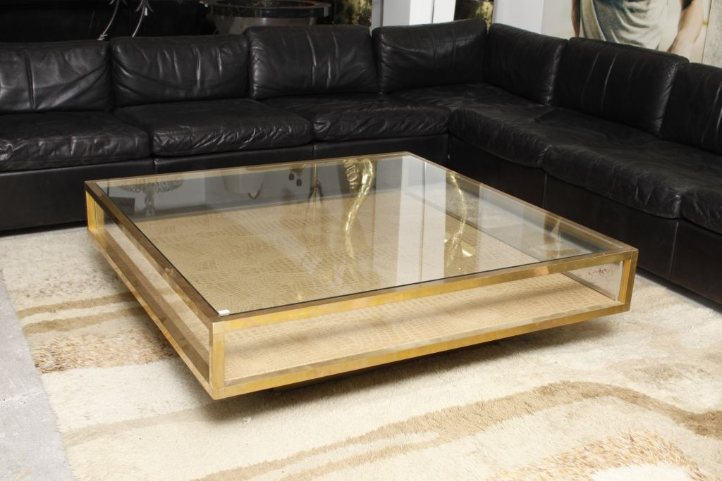 Brass coffee table by vitrine 1970s for sale at pamono for Table vitrine