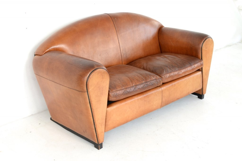art d co cognac ledersofa 1950er bei pamono kaufen. Black Bedroom Furniture Sets. Home Design Ideas