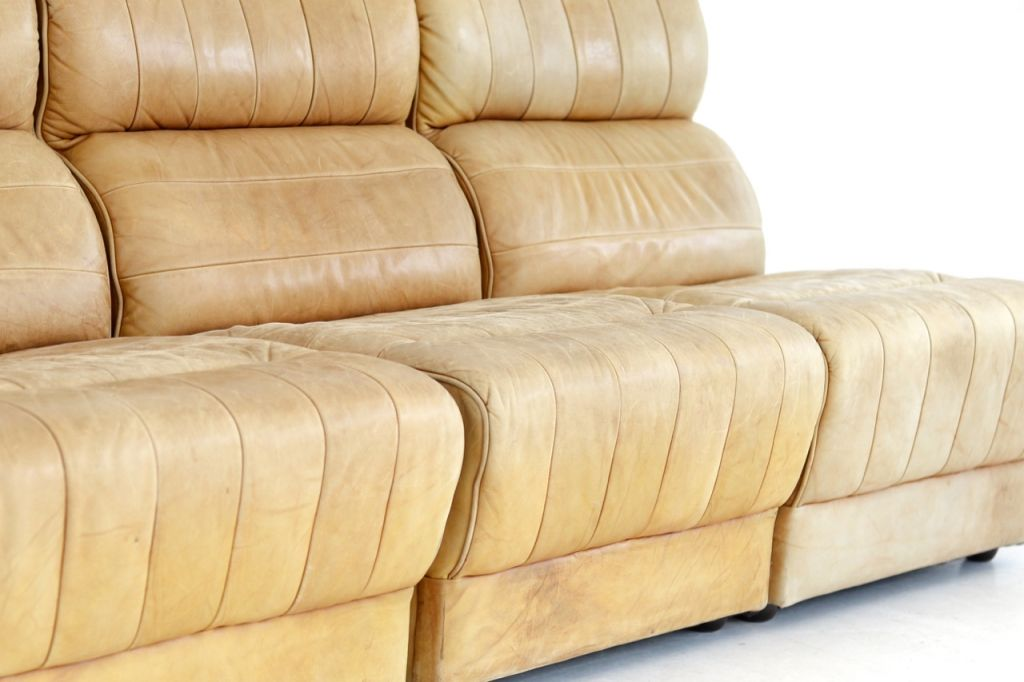 Natural Leather Sofa Elements 1960s Set Of 3 For Sale At