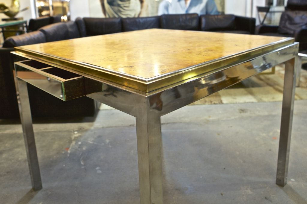 Linea flaminia game table by willy rizzo 1970s for sale for Table willy rizzo
