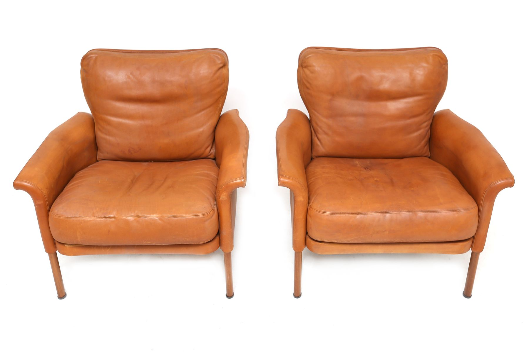 Cognac Leather Club Chairs from Wittmann 1960s Set of 2