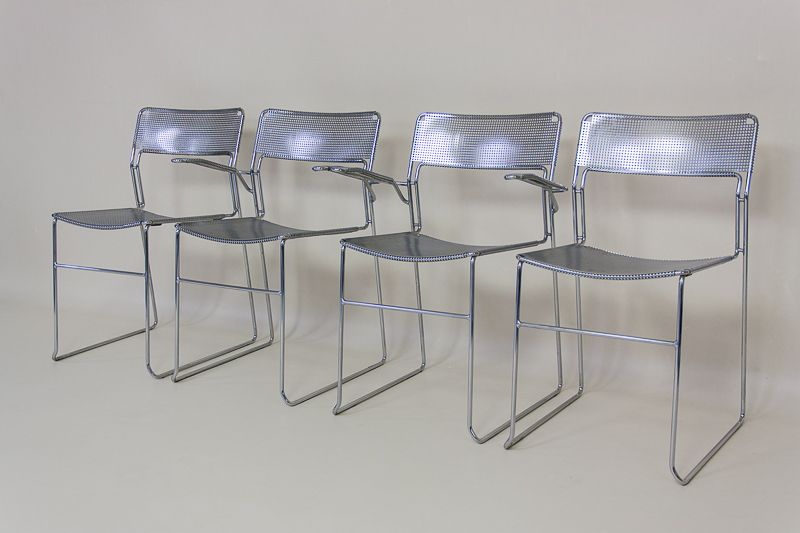 Industrial Metal Dining Chairs Set Of 4 For Sale At Pamono