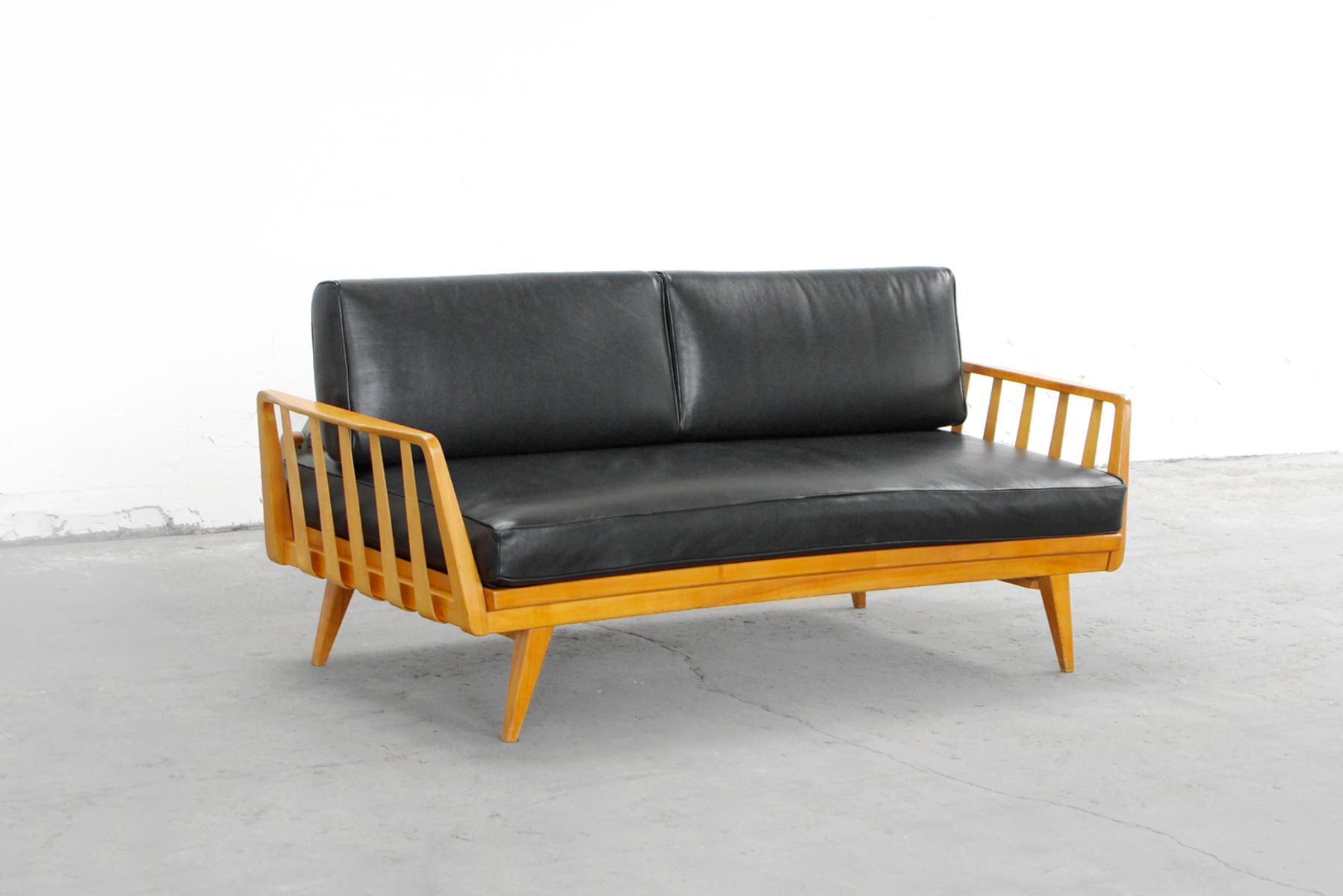 cherrywood sofa by walter knoll for knoll antimott 1950s. Black Bedroom Furniture Sets. Home Design Ideas