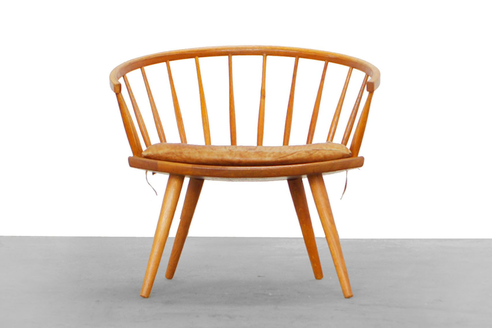 maple wood chair with leather cushion by yngve ekstr m for