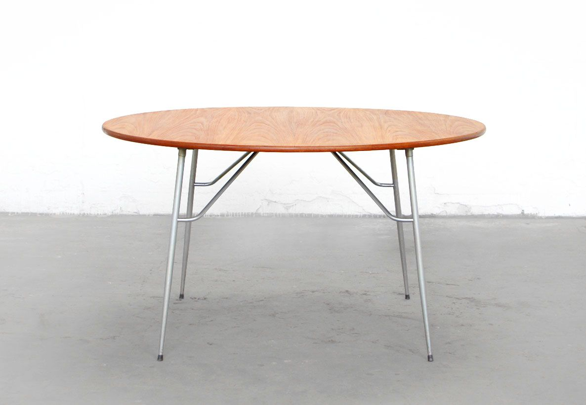 Stainless Steel Teak Round Dining Table By B Rge Mogensen For