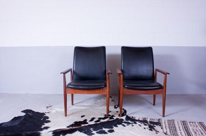 diplomat schwarzer leder sessel von finn juhl f r france. Black Bedroom Furniture Sets. Home Design Ideas