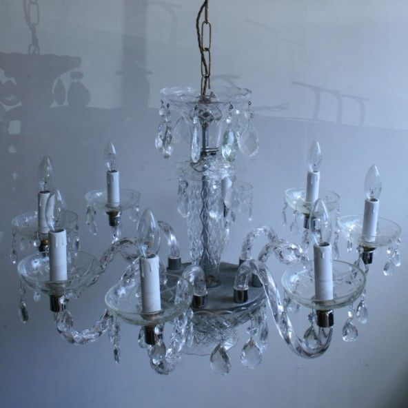 Glass Swan Neck Chandelier For Sale At Pamono
