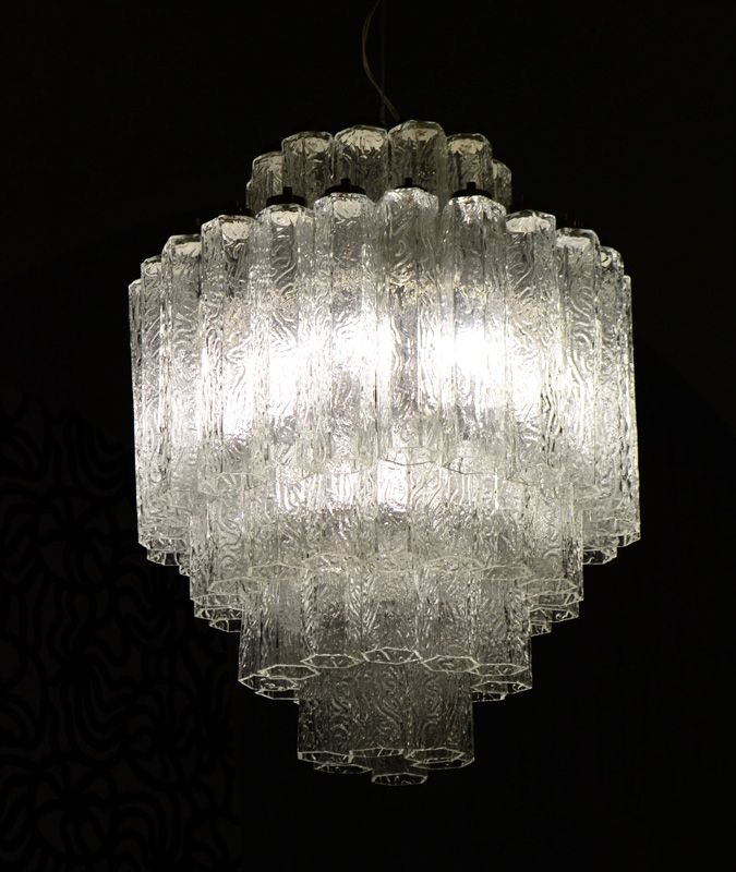 Blown glass chandelier by toni zuccheri for venini 1960s Blown glass chandelier