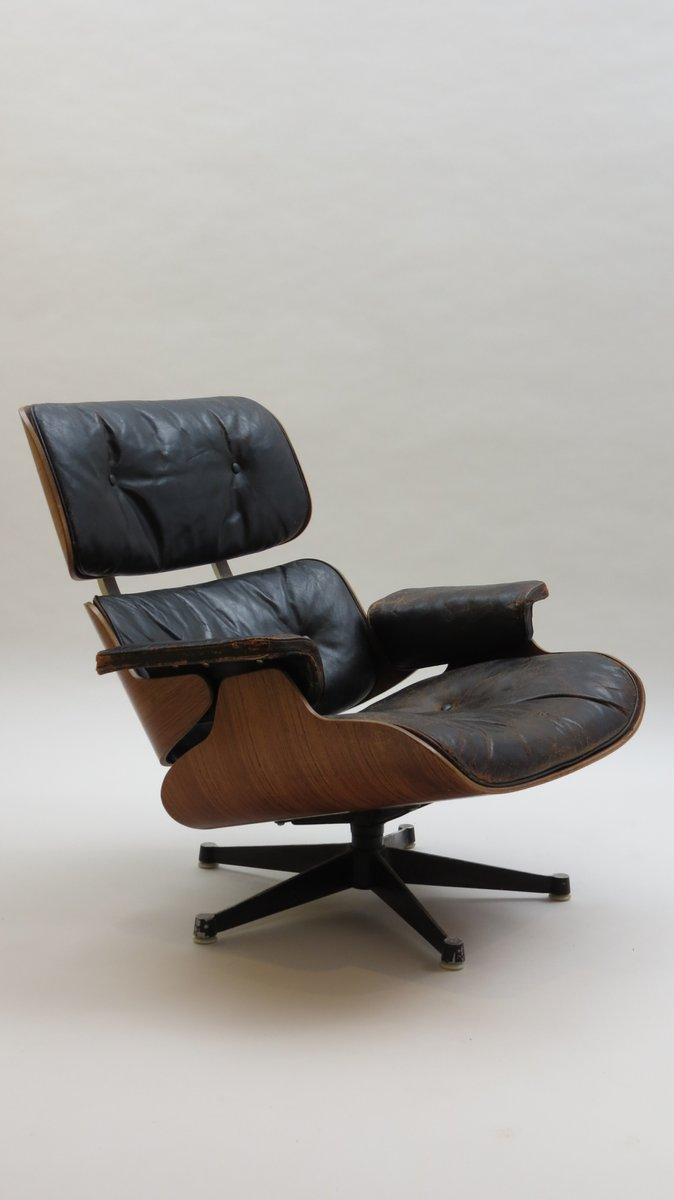 Vintage eames lounge chair - 670 Lounger 671 Ottoman By Charles And Ray Eames For Hille 1959