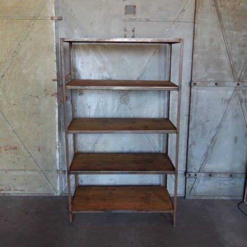 industrial regal aus holz und stahl bei pamono kaufen. Black Bedroom Furniture Sets. Home Design Ideas