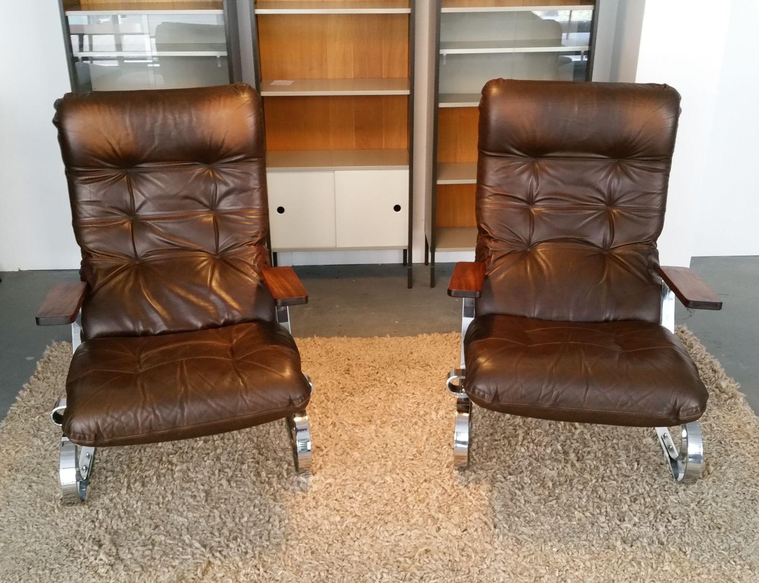braune mid century leder lounge st hle aus chrom 2er set. Black Bedroom Furniture Sets. Home Design Ideas