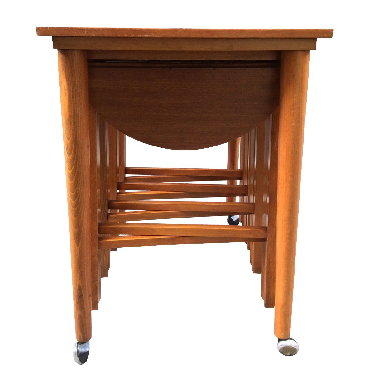 Wonderful image of Vintage Teak Nesting Tables Set of 5 for sale at Pamono with #B26019 color and 1200x1200 pixels