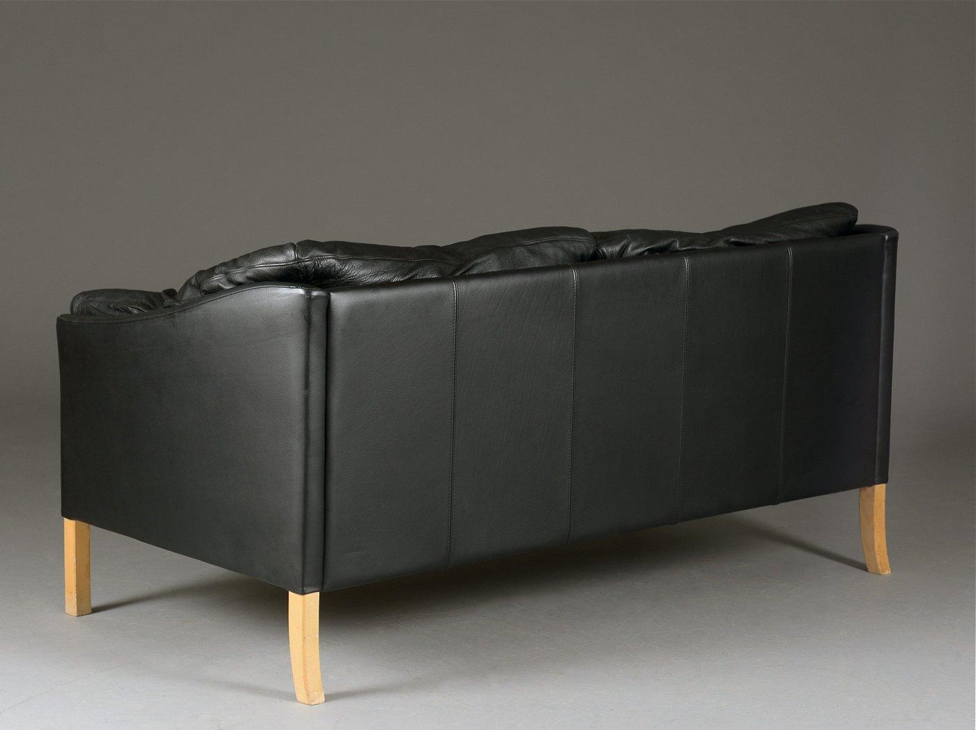 Danish Black Leather Sofa 1980s for sale at Pamono