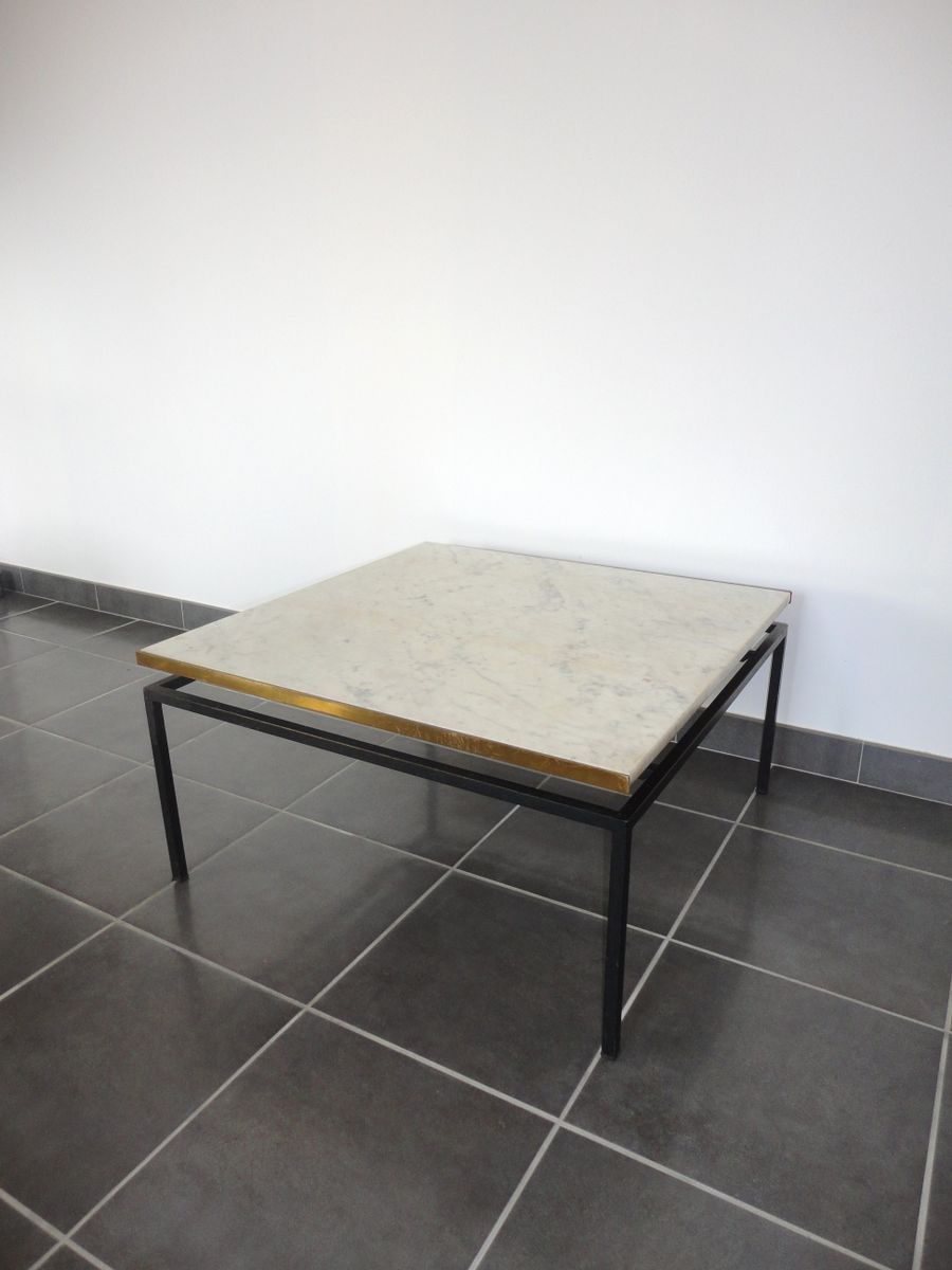 Vintage marble top and brass coffee table 1960s for sale for Table basse marbre
