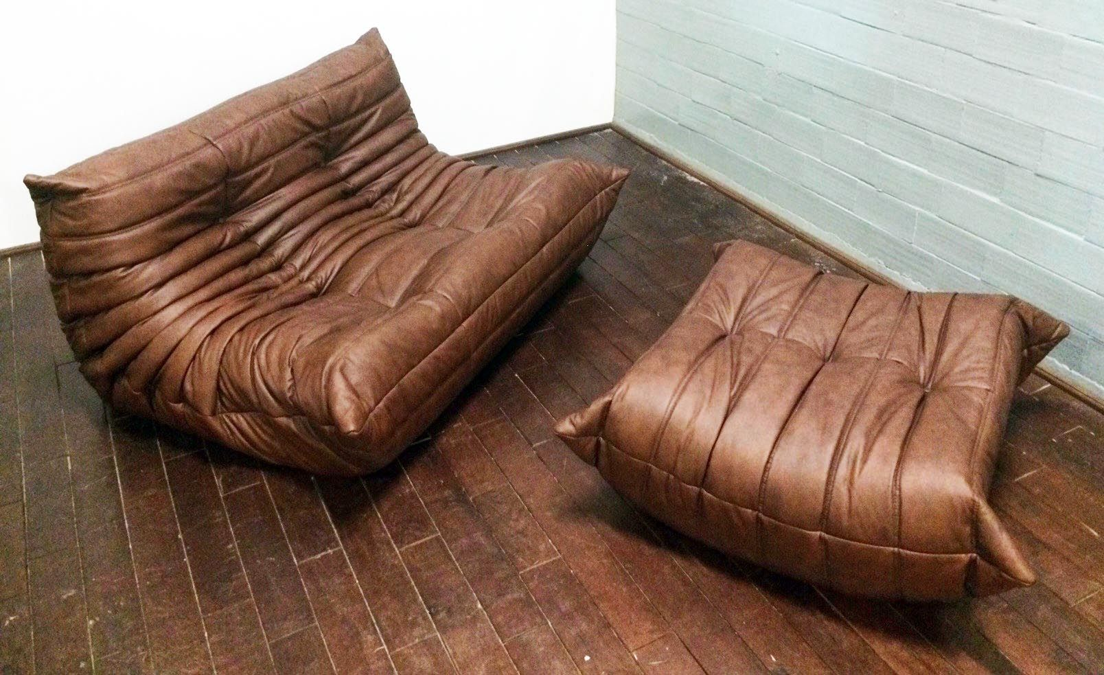 Brown leather togo sofa set by michel ducaroy for ligne roset 1960 for sale - Togo sofa by ligne roset ...
