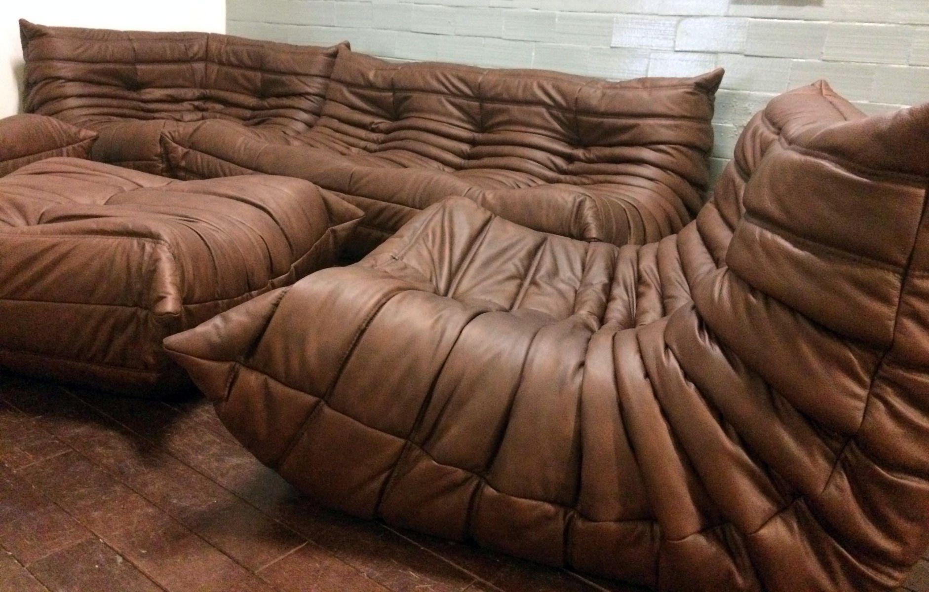 set de canap s togo en cuir brun par michel ducaroy pour ligne roset 1960 en vente sur pamono. Black Bedroom Furniture Sets. Home Design Ideas