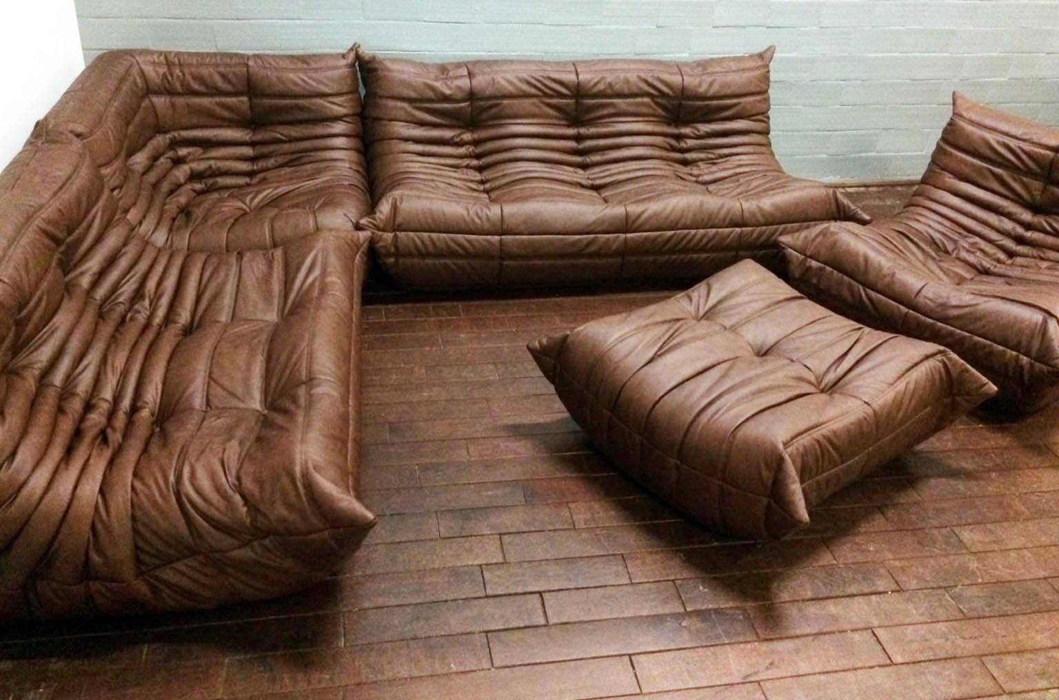 brown leather togo sofa set by michel ducaroy for ligne. Black Bedroom Furniture Sets. Home Design Ideas