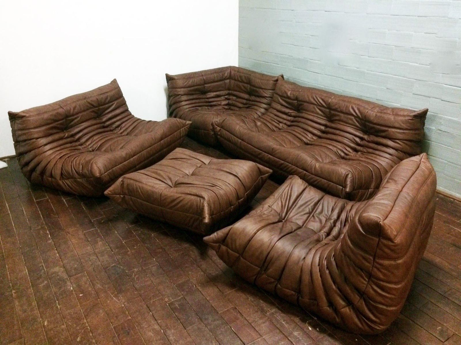 Brown leather togo sofa set by michel ducaroy for ligne roset 1960 for sale at pamono - Togo ligne roset ...