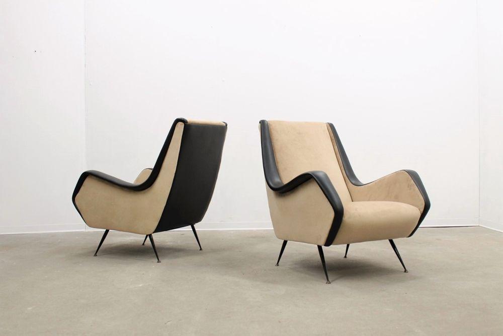 Mid century beige black italian armchairs set of 2 for sale at pamono - Divano anni 30 ...