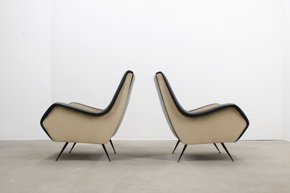 Italienische mid century sessel in beige schwarz 2er for Italienische sessel design
