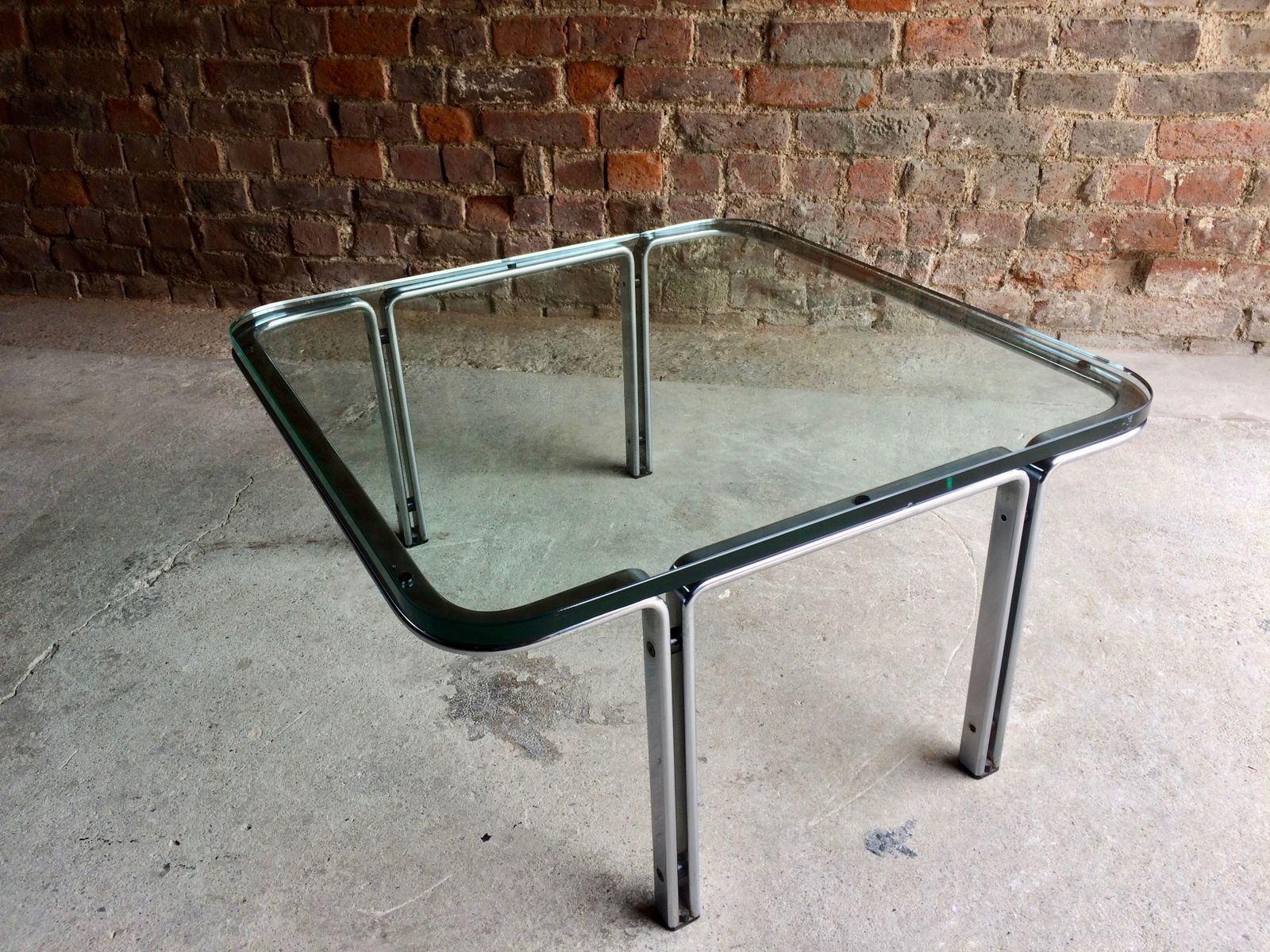 Model T111 Square Steel & Glass Coffee Table by Horst Brüning for