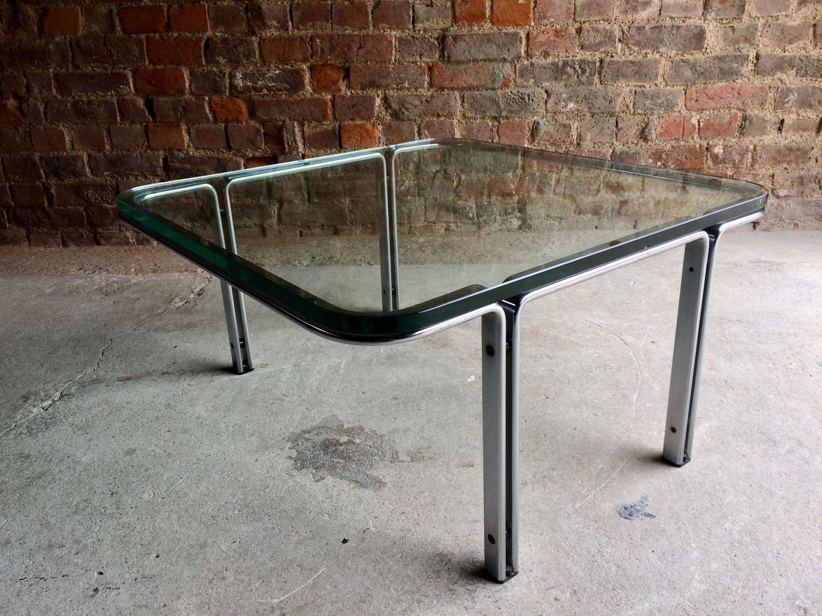 model t square steel  glass coffee table by horst brüning for  - price per piece