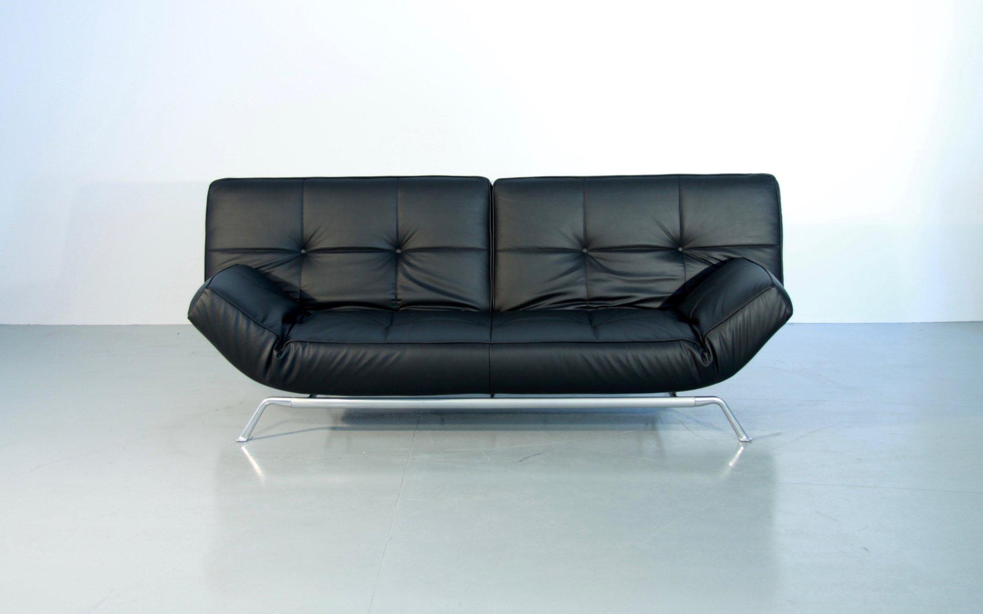 verstellbares vintage smala schlafsofa aus schwarzem leder. Black Bedroom Furniture Sets. Home Design Ideas