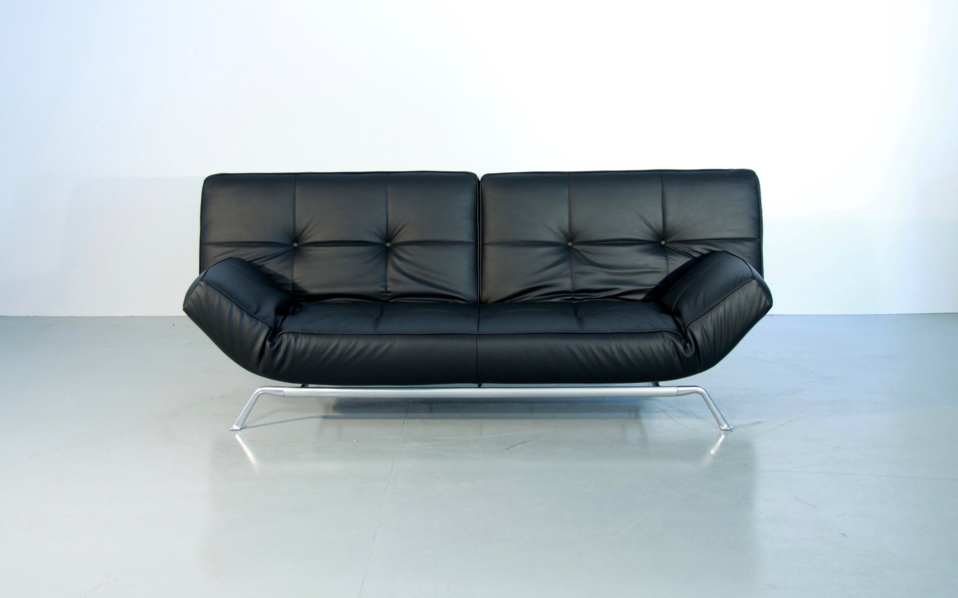 Vintage Smala Black Leather Adjustable Sofabed by Pascal Mourgue