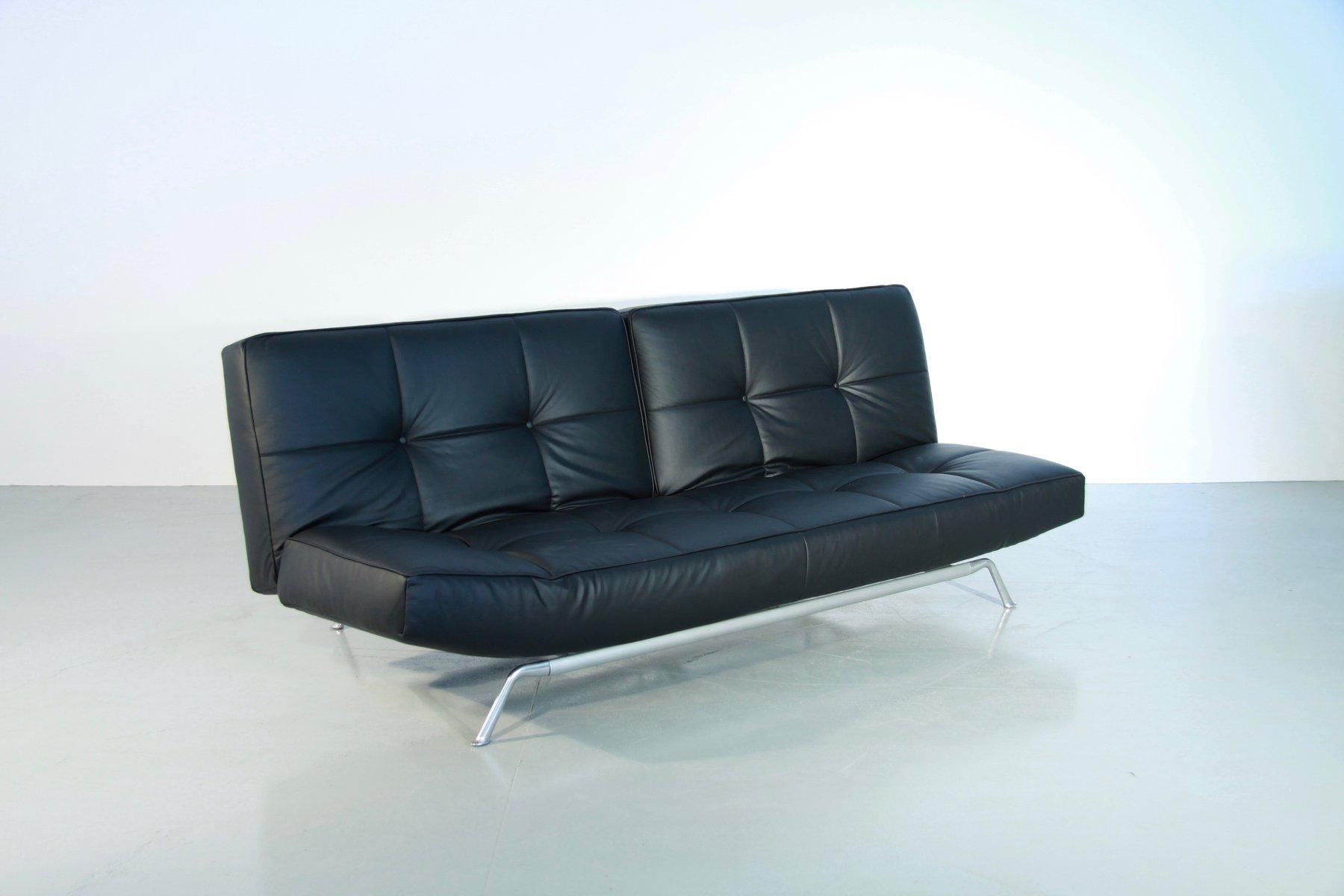 vintage smala black leather adjustable sofabed by pascal. Black Bedroom Furniture Sets. Home Design Ideas