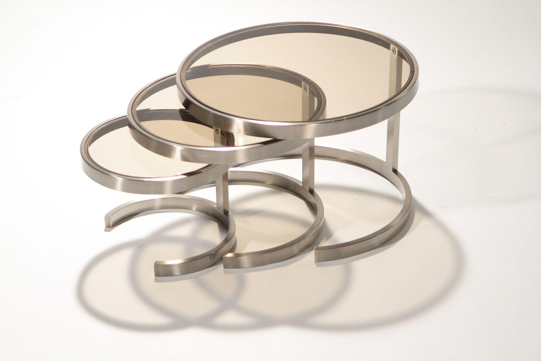satztische aus geb rstetem metall 1970er bei pamono kaufen. Black Bedroom Furniture Sets. Home Design Ideas