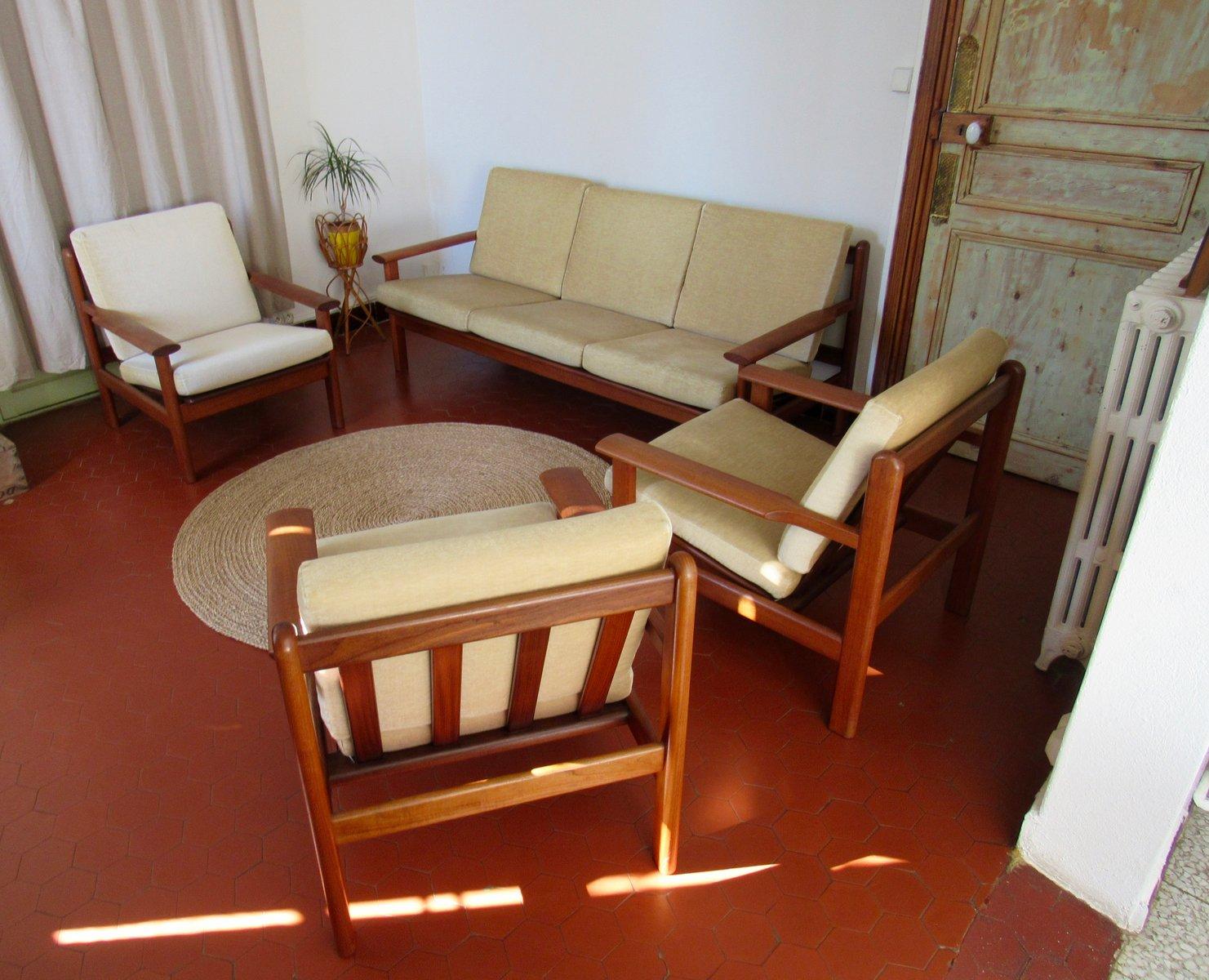 Model 390 Living Room Set By Poul Volther For Frem Rolje, 1960s, Set Of 4