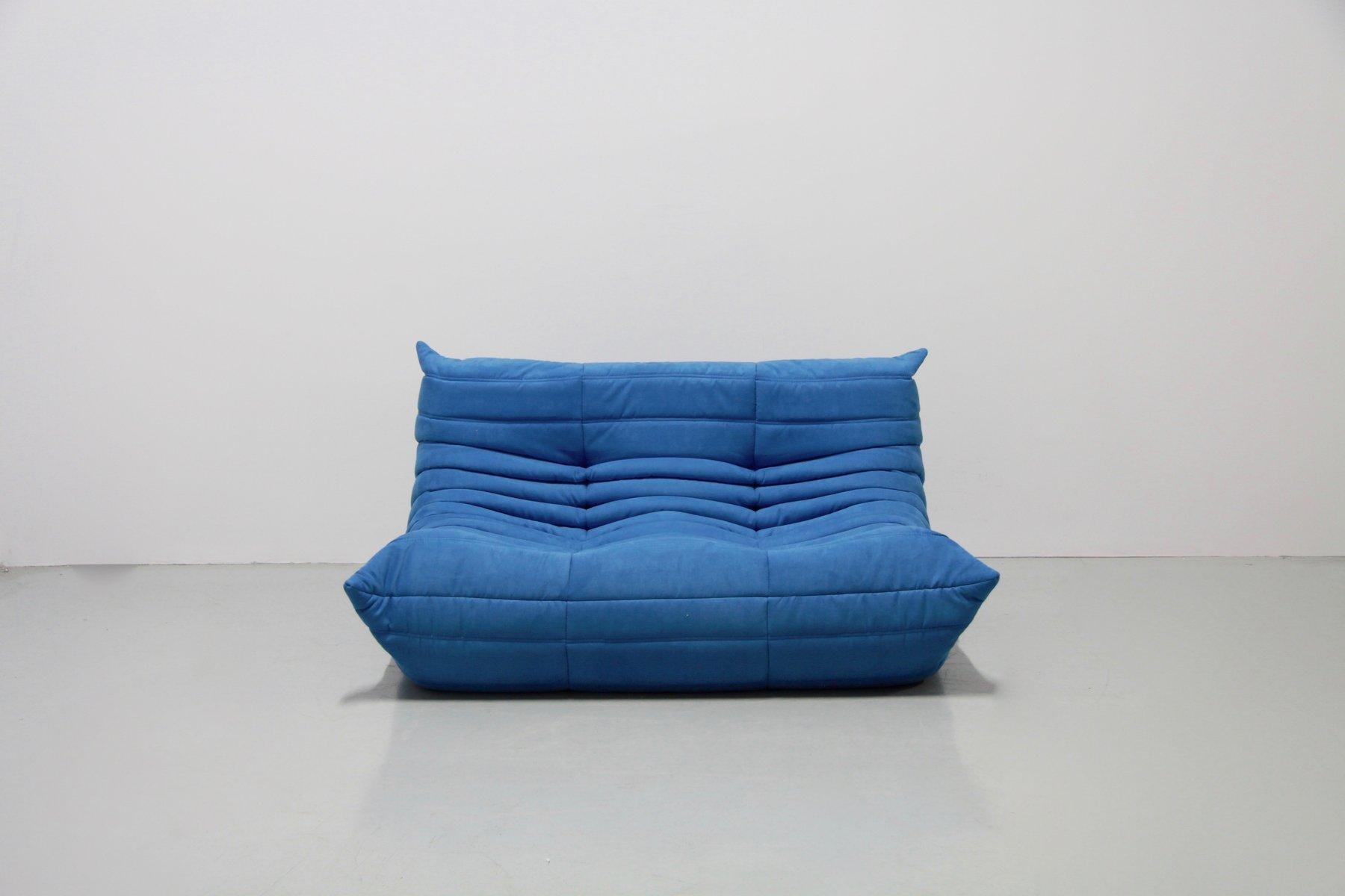 vintage turquoise togo living room set by michel ducaroy. Black Bedroom Furniture Sets. Home Design Ideas