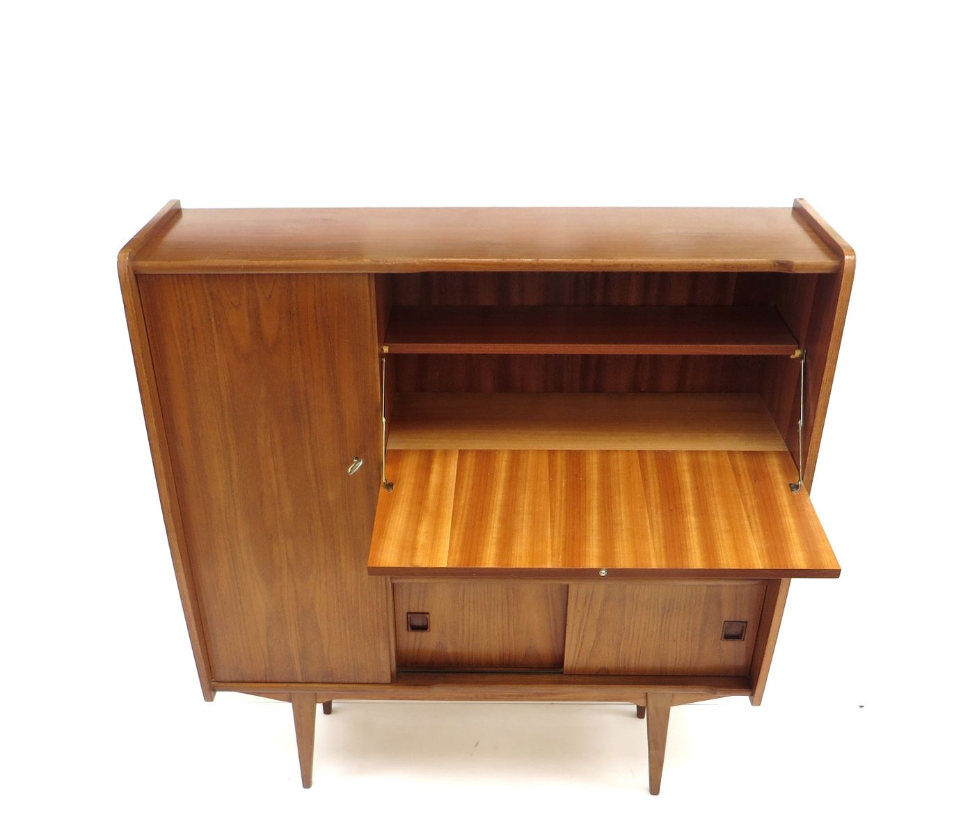 Vintage high sideboard in teak 1960s for sale at pamono for Sideboard 2 m breit