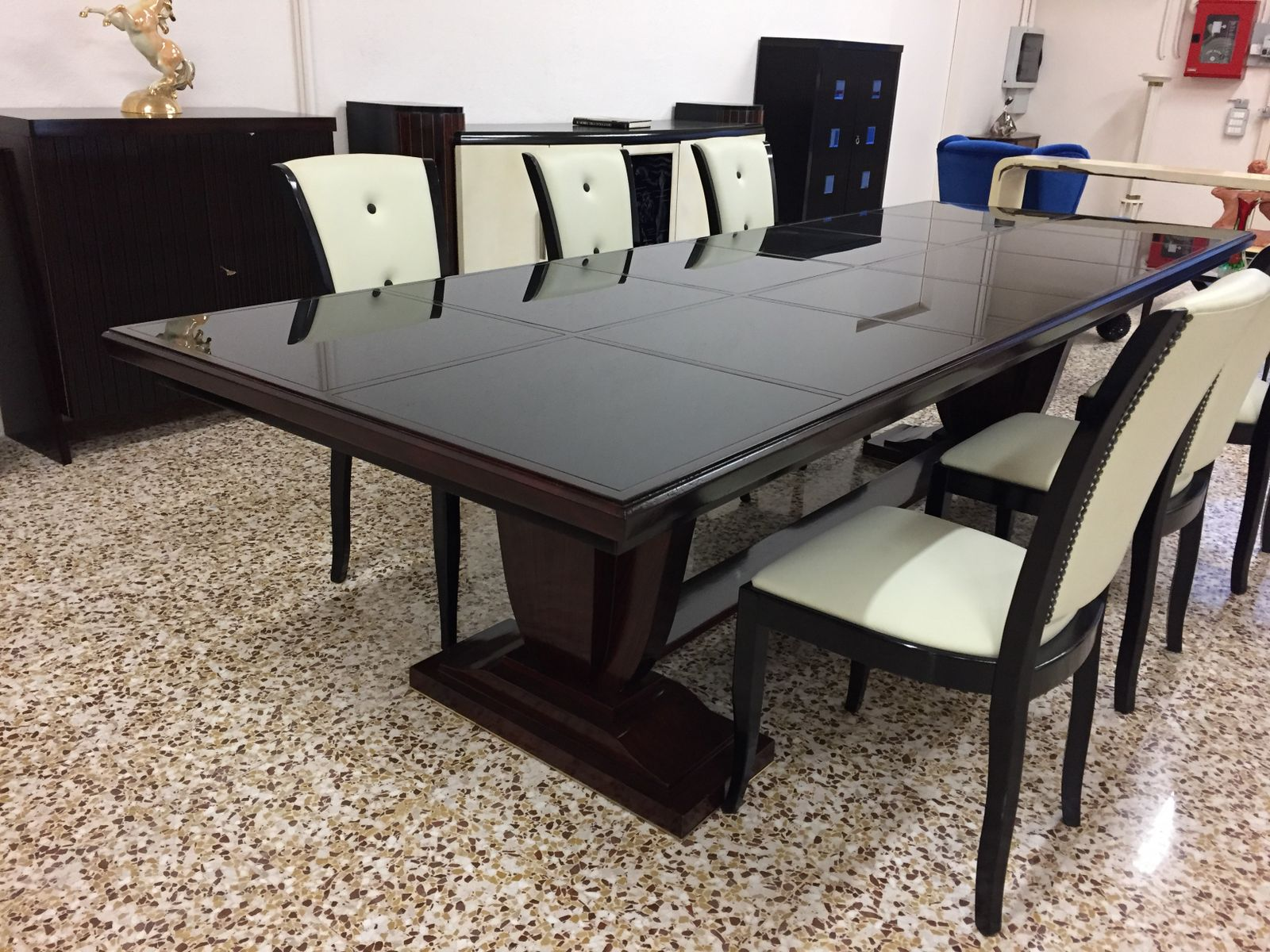 Vintage Large French Art Deco Dining Table, 1940s for sale at Pamono