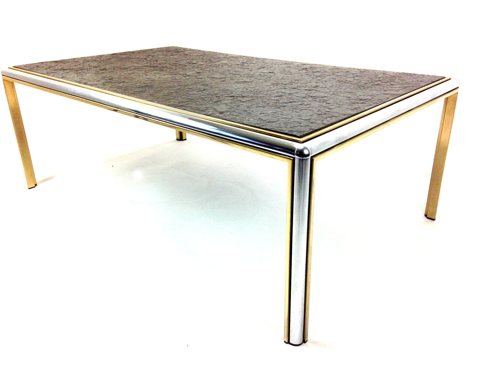 table basse mid century en chrome et ardoise en vente sur pamono. Black Bedroom Furniture Sets. Home Design Ideas